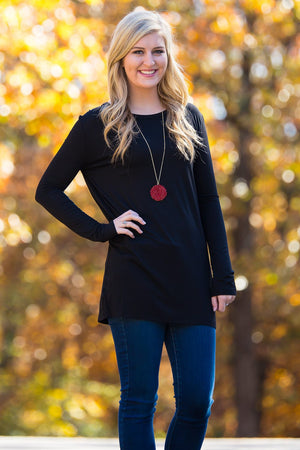 Long Sleeve Slim Fit Piko Top - Black - Piko Clothing