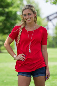 Short Sleeve Piko Top - Red - Piko Clothing - 1