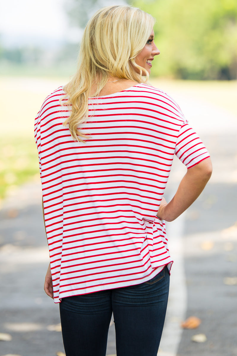 3/4 Sleeve Tiny Striped Piko Top - White/Red - Piko Clothing