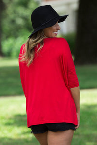 3/4 Sleeve Piko Top - Red - Piko Clothing