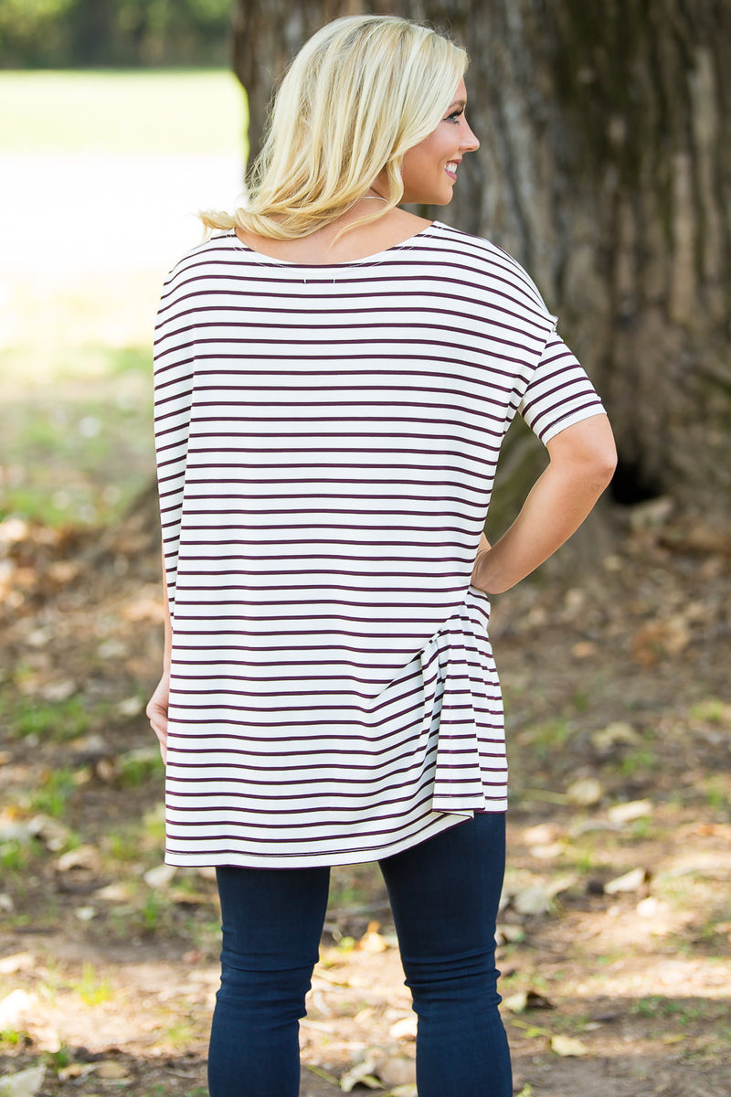 Half Sleeve Piko Tunic - White/Burgundy - Piko Clothing