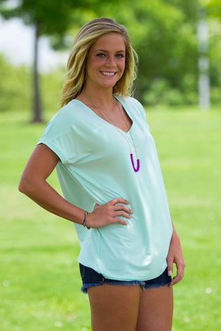 Short Sleeve Rolled Sleeve V-Neck Piko Top - Mint - Piko Clothing - 1
