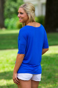 3/4 Sleeve Piko Top - Royal Blue - Piko Clothing