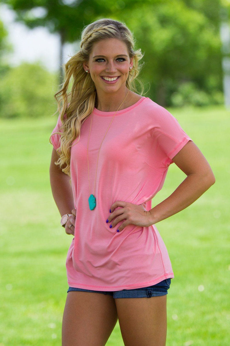 Short Sleeve Rolled Sleeve Piko Top - Strawberry Ice - Piko Clothing
