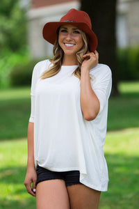 3/4 Sleeve Piko Top - Off White - Piko Clothing