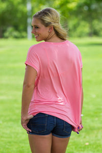 Short Sleeve Rolled Sleeve Piko Top - Strawberry Ice - Piko Clothing - 2
