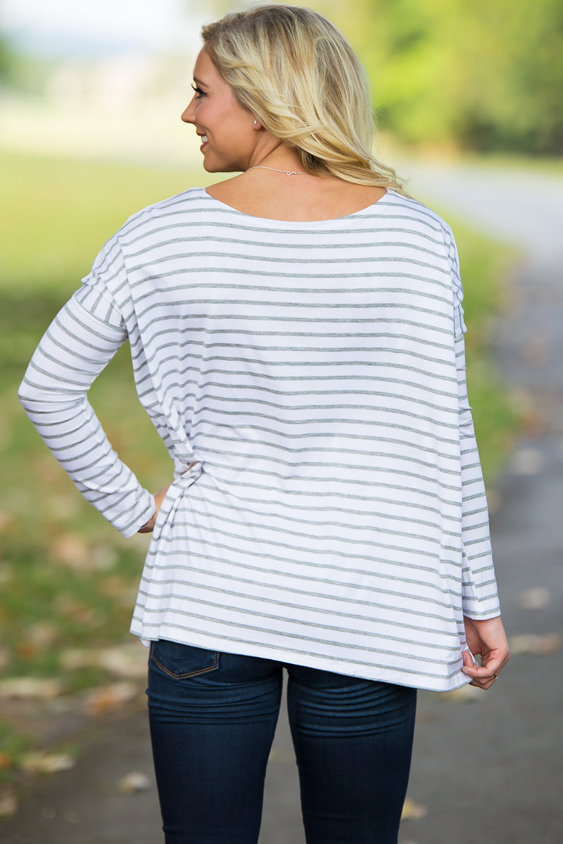Long Sleeve Tiny Stripe Piko Top - White/Heather - Piko Clothing