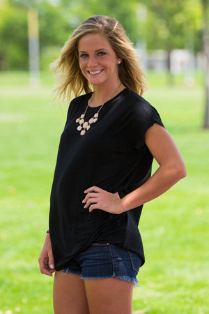 Short Sleeve Rolled Sleeve Piko Top - Black - Piko Clothing