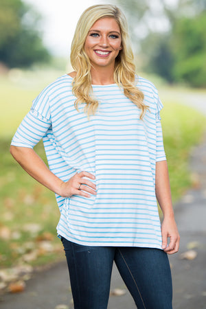 3/4 Sleeve Tiny Striped Piko Top - White/Baby Blue - Piko Clothing