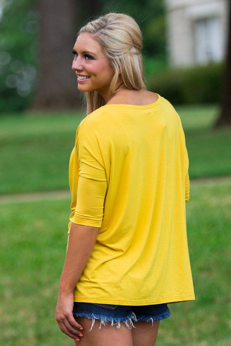 3/4 Sleeve Piko Top - Mustard - Piko Clothing