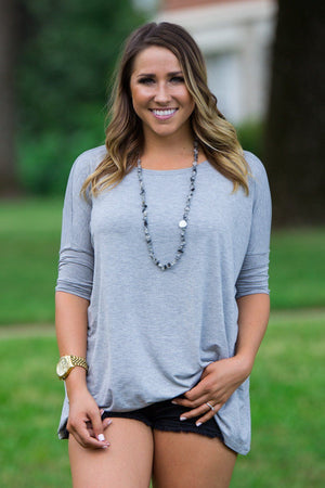 3/4 Sleeve Piko Top - Heather Grey - Piko Clothing
