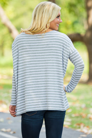 Long Sleeve Tiny Stripe Piko Top - Heather/White - Piko Clothing