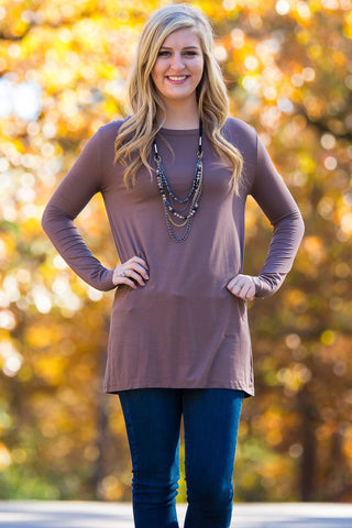 Long Sleeve Slim Fit Piko Top - Brown