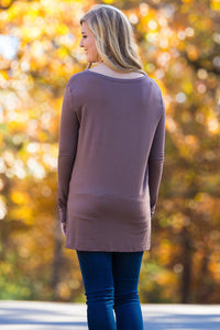Long Sleeve Slim Fit Piko Top - Brown - Piko Clothing
