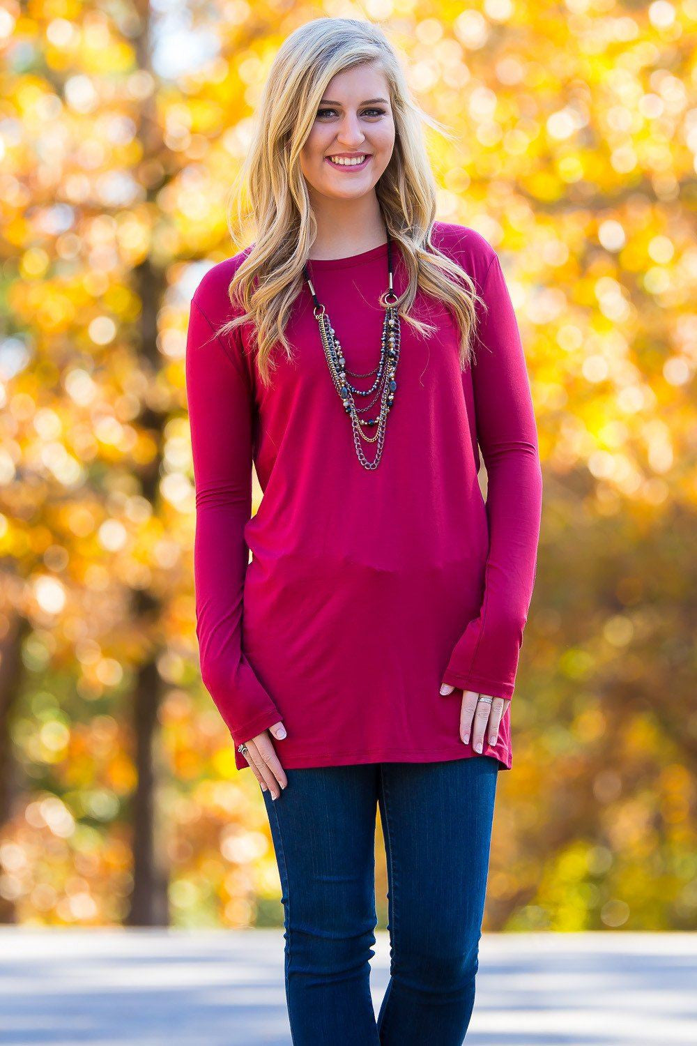 Long Sleeve Slim Fit Piko Top - Wine - Piko Clothing