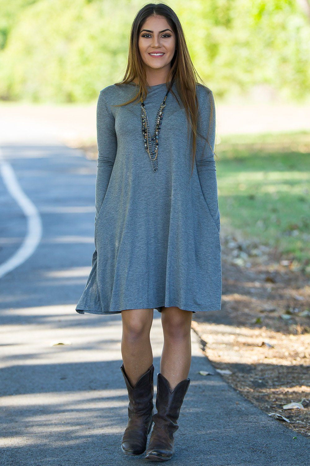 6da439a570d9f Piko Long Sleeve Swing Dress - Heather Grey
