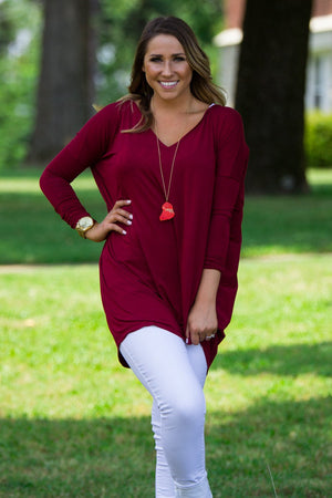 Long Sleeve V-Neck Piko Tunic - Wine - Piko Clothing