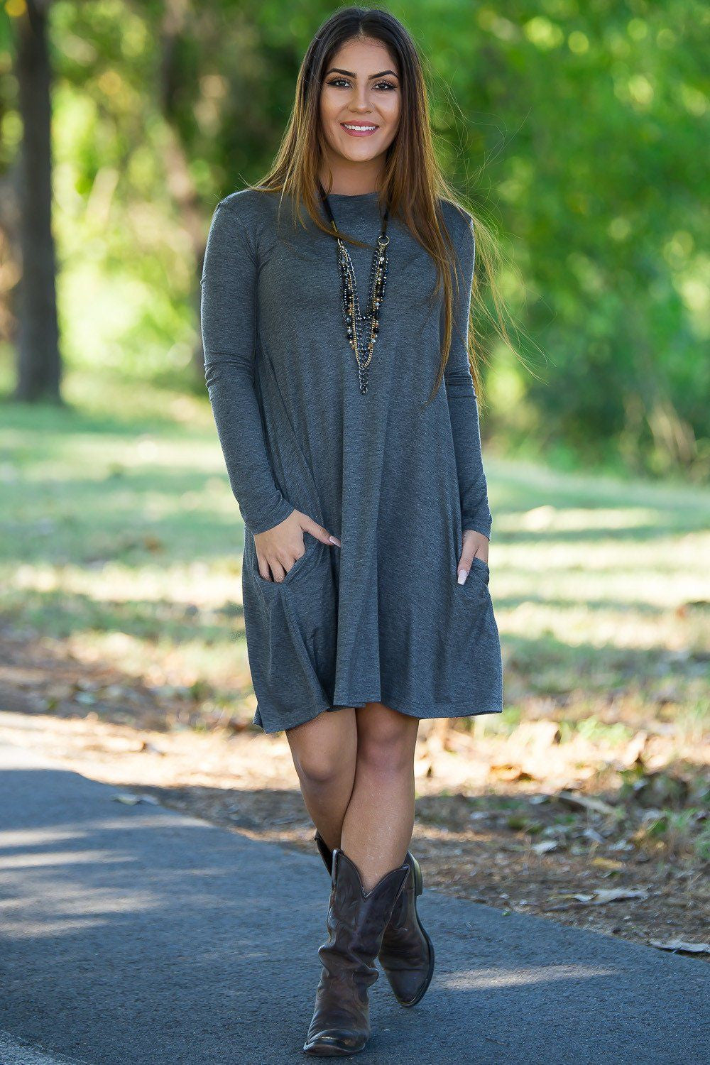 Piko Long Sleeve Swing Dress - Dark Heather Grey