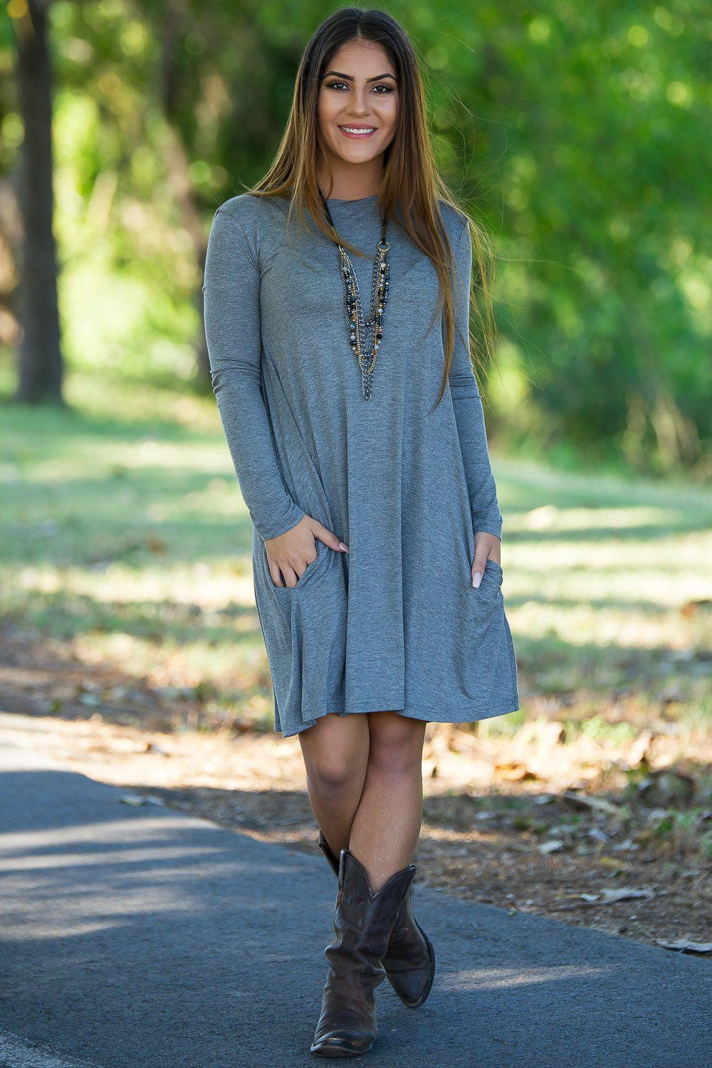Piko Long Sleeve Swing Dress - Heather Grey - Piko Clothing - 2