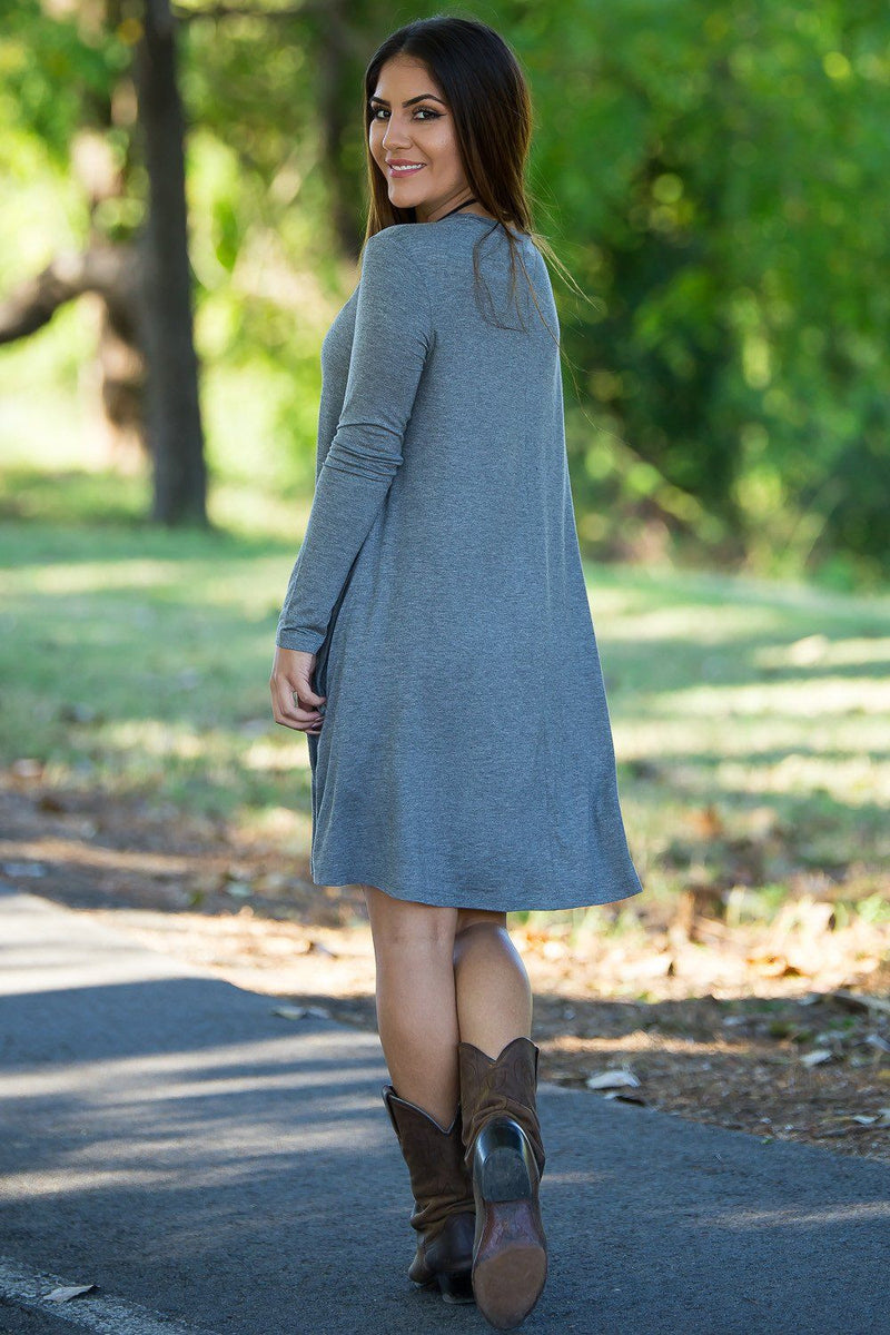 Piko Long Sleeve Swing Dress - Heather Grey - Piko Clothing - 3