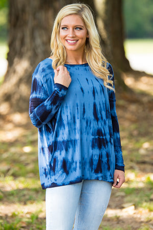 Long Sleeve Piko Top - Tie Dye Navy - Piko Clothing