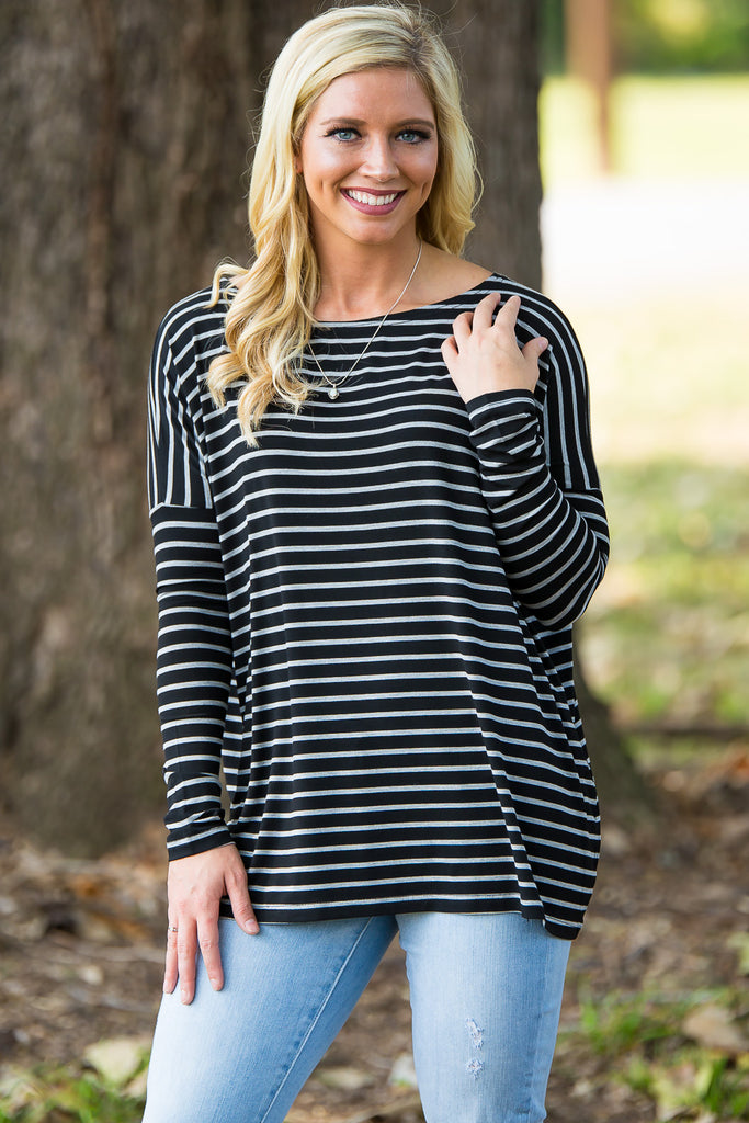 Long Sleeve Tiny Stripe Piko Top - Black/Heather Grey