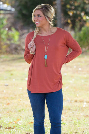 Long Sleeve Piko Top - Rust - Piko Clothing