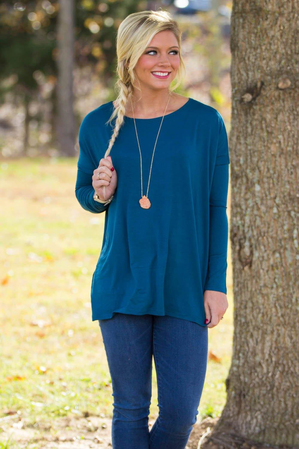 Long Sleeve Piko Top - Majolica Blue - Piko Clothing