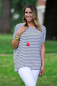 Short Sleeve Tiny Stripe Piko Top - White/Black - Piko Clothing - 1