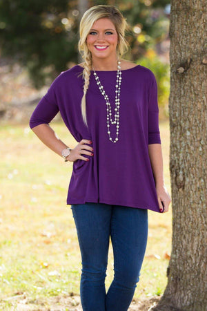 3/4 Sleeve Piko Top - Dark Purple - Piko Clothing
