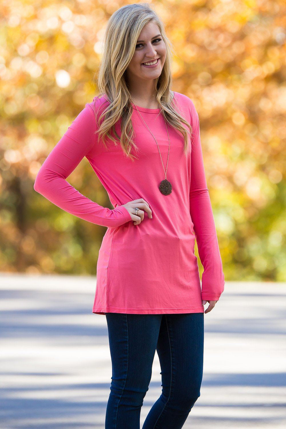 Long Sleeve Slim Fit Piko Top - Coral - Piko Clothing