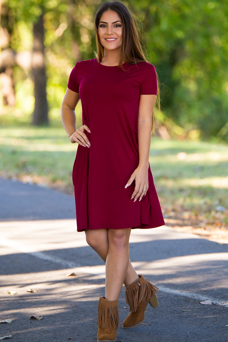 Piko Short Sleeve Swing Dress - Plum - Piko Clothing