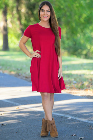 Piko Short Sleeve Swing Dress - Red