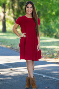 Piko Short Sleeve Swing Dress - Burgundy - Piko Clothing - 1