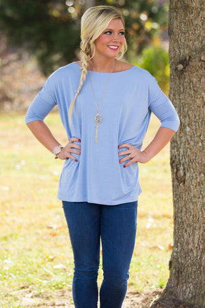 3/4 Sleeve Piko Top - Light Blue - Piko Clothing