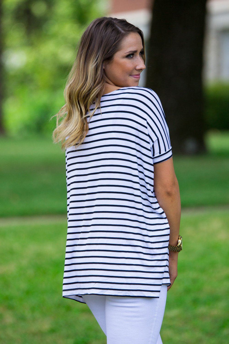 Short Sleeve Tiny Stripe Piko Top - White/Black - Piko Clothing - 2