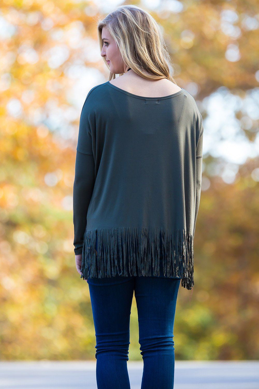 Long Sleeve Fringe Piko Top - Army - Piko Clothing