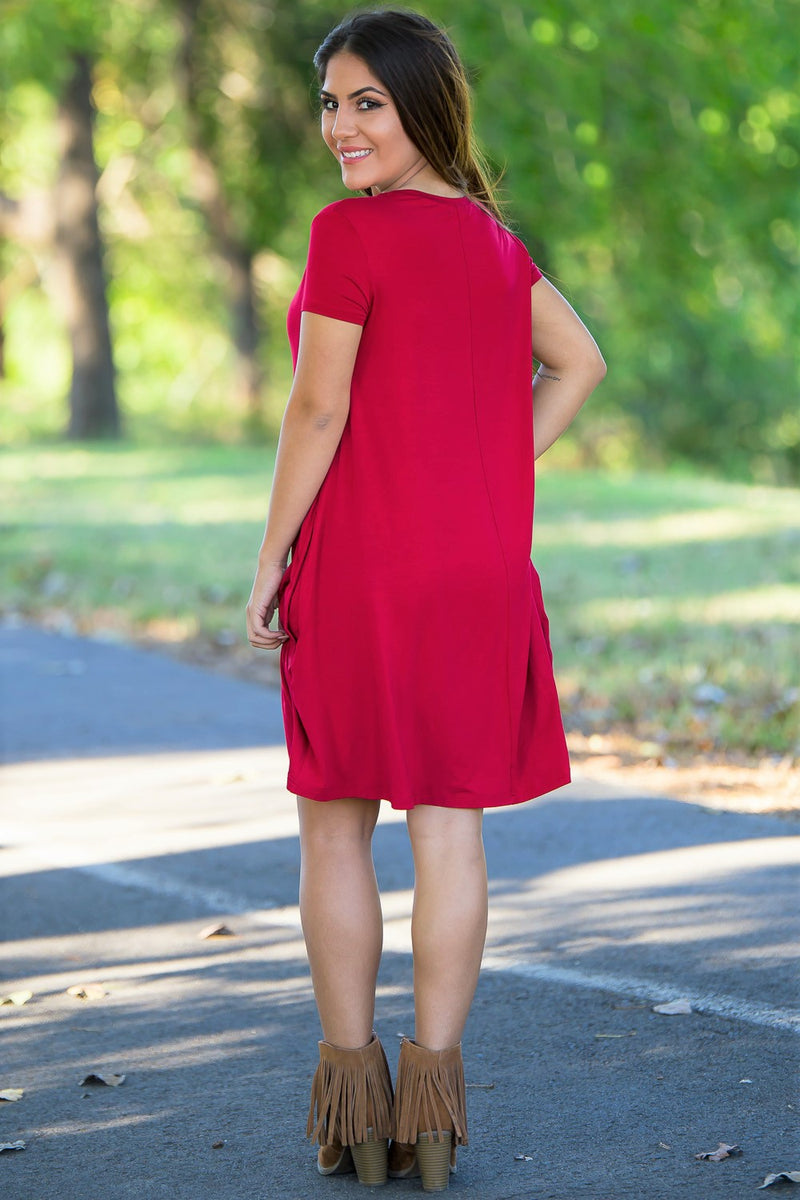 Piko Short Sleeve Swing Dress - Red - Piko Clothing