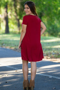 Piko Short Sleeve Swing Dress - Burgundy - Piko Clothing
