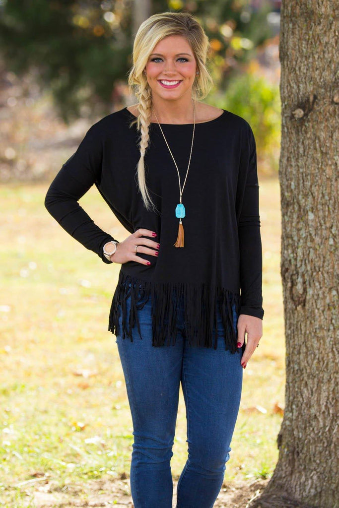 Long Sleeve Fringe Piko Top - Black - Piko Clothing