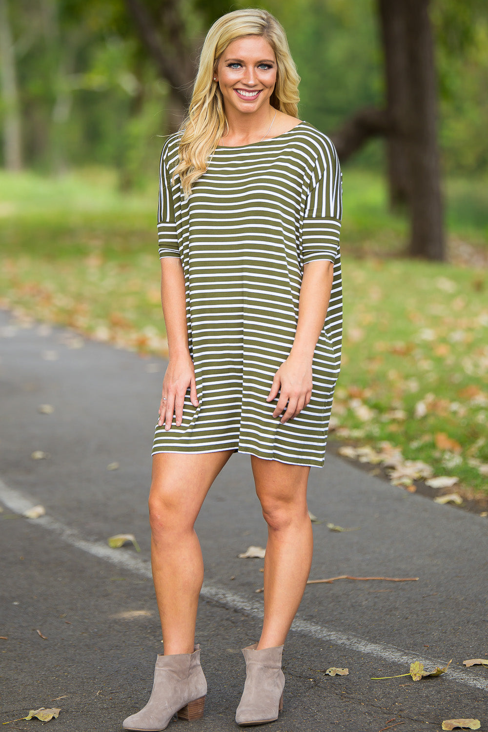 Half Sleeve Piko Tunic - Olive/White - Piko Clothing