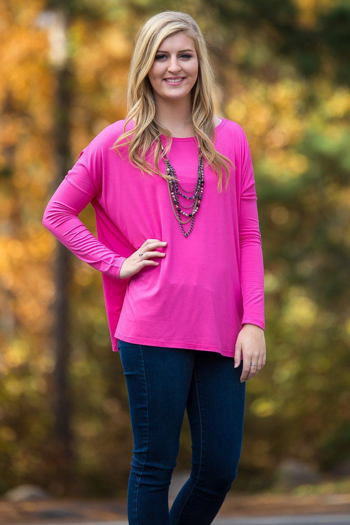 Long Sleeve Piko Top - French Rose