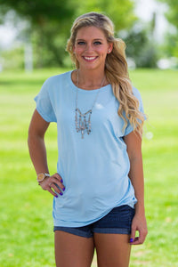 Short Sleeve Rolled Sleeve Piko Top - Aquamarine - Piko Clothing