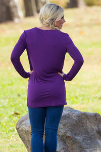 Long Sleeve Slim Fit V-Neck Piko Top - Purple - Piko Clothing