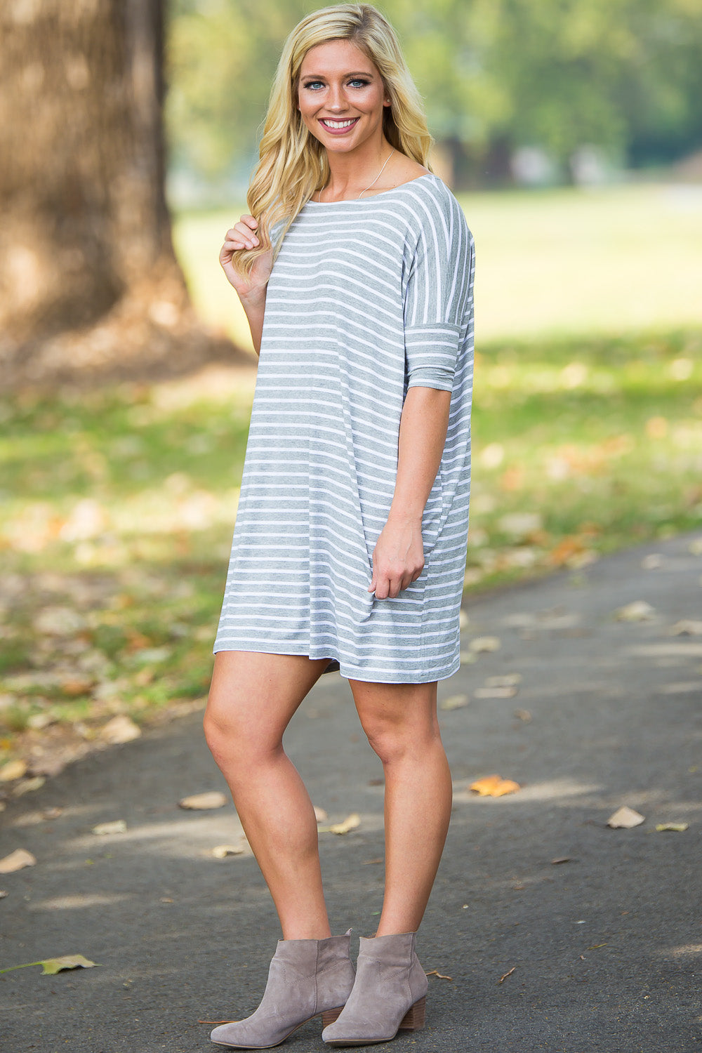 Half Sleeve Piko Tunic - Heather/White - Piko Clothing