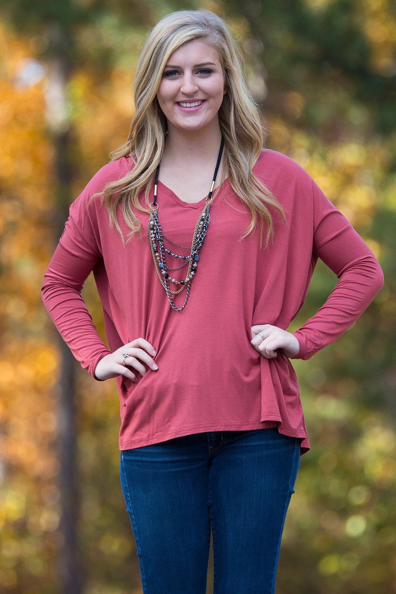 Long Sleeve V-Neck Piko Top - Rust - Piko Clothing