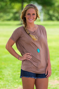 Short Sleeve Piko Top - Mocha - Piko Clothing