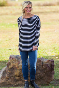 Long Sleeve Tiny Stripe Piko Top - Black/White - Piko Clothing