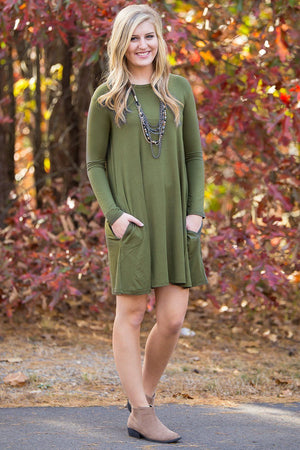 Piko Long Sleeve Swing Dress - Natural Olive - Piko Clothing