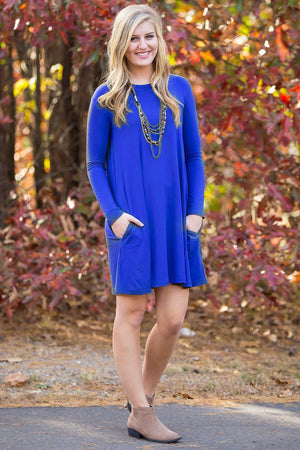 Piko Long Sleeve Swing Dress - Royal - Piko Clothing